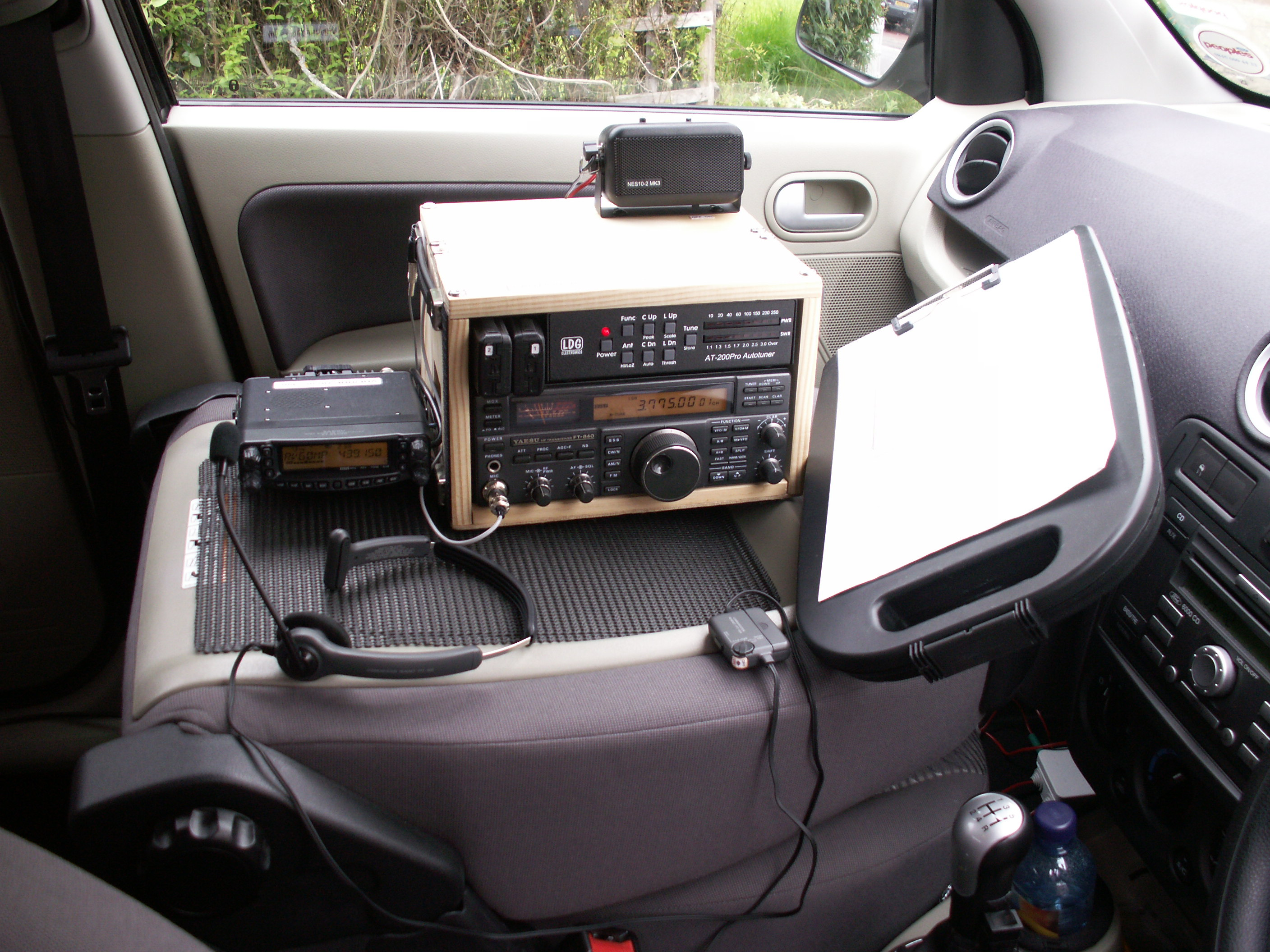 VHF/UHF and HF rigs on passenger seat of car