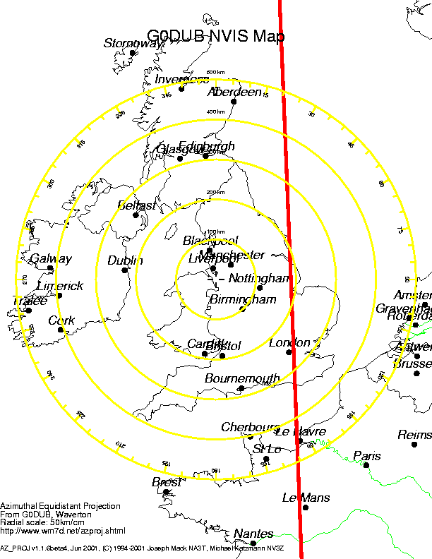UK Map with range circles centred on Chester